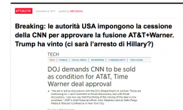 """Scenarieconomici: """"Le autorità Usa impongono cessione CNN per approvare la fusione AT&T+Warner"""""""