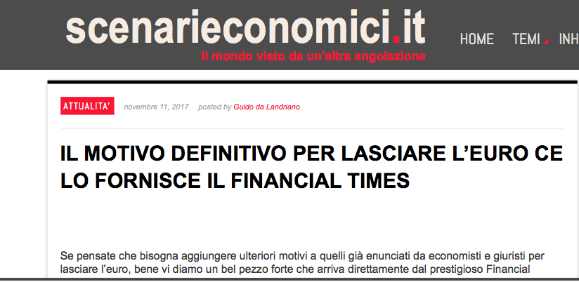 """Scenarieconomici: """"Il motivo definitivo per lasciare l'Euro lo fornisce il Financial Times"""""""