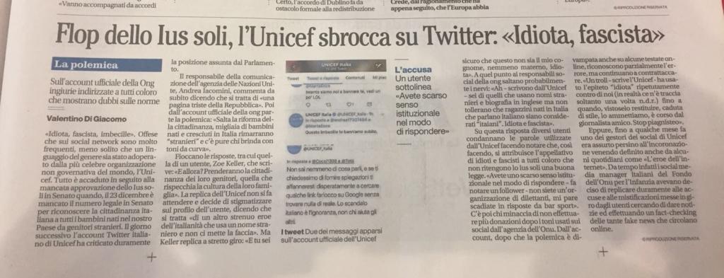 Il Mattino. Flop Ius soli, l'Unicef sbrocca su Twitter: 'Idiota, fascista'