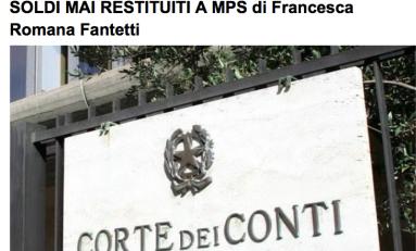 """Scenarieconomici: """"Corte dei Conti chieda per gli italiani soldi mai restituiti a Mps"""""""