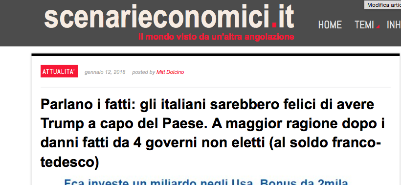 """Scenarieconomici: """"Parlano i fatti, gli italiani sarebbero felici di avere Trump"""""""