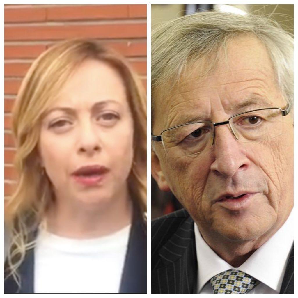 """Giorgia Meloni a Juncker: """"Bevi di meno"""""""